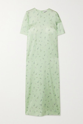 Ganni Floral-print Stretch-silk Satin Dress - Light green
