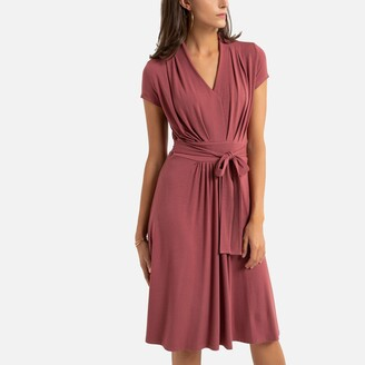 Anne Weyburn Mid-Length Skater Dress with Short Sleeves and Tie-Waist