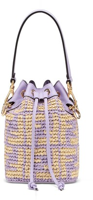 Fendi Small Mon Tresor Woven Raffia Bucket Bag