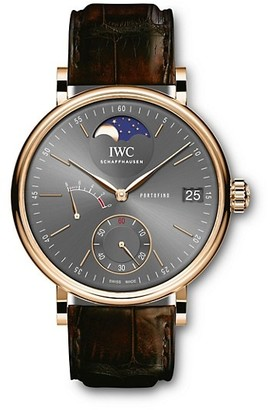 IWC Portofino 18K 5N Gold & Alligator Strap Hand-Wound Moon Phase Watch