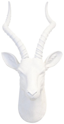 Near and Deer Faux Large Antelope Head Wall Decor, Flat White