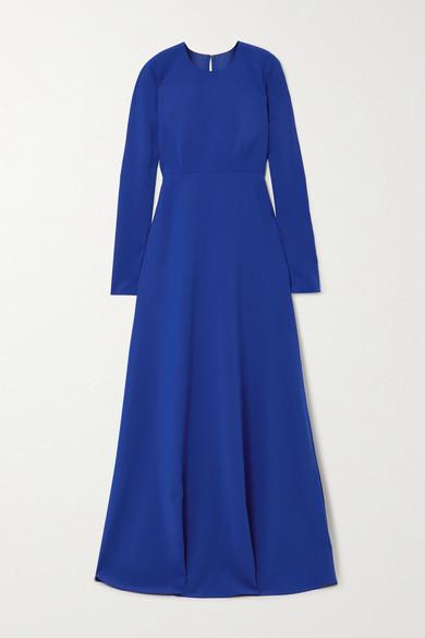 Carolina Herrera Open-back Stretch-crepe Gown - Blue