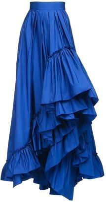 Max Mara Asymmetric Ruffled Taffeta Skirt