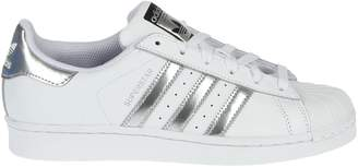 adidas White Superstar Sneakers With Silver Stripes