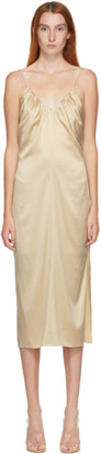 Helmut Lang SSENSE Exclusive Beige Silk Ruched Long Dress