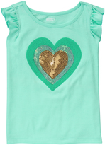 Crazy 8 Mint Beach Glass Heart Flutter-Sleeve Top - Girls