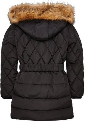 Very Girls Faux Fur Hooded & Belted Coat - Black