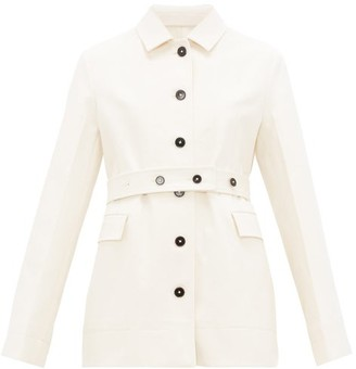 Jil Sander Belted Cotton-moleskin Jacket - Cream