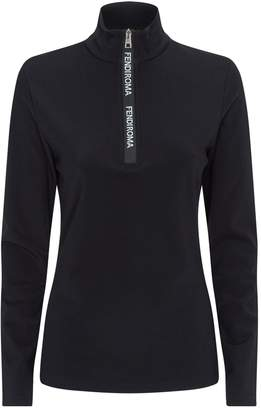 Fendi Tech Logo Zip Long-Sleeved Top