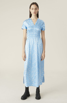Ganni Silk Stretch Satin Smock Dress