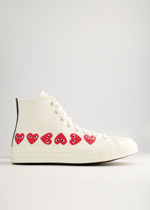 Comme des Garcons Women's Play Converse High Multi Heart Sneaker in Off White, Size 10 | Textile/Rubber