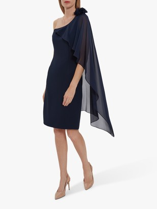 Gina Bacconi Ashley Crepe Cape Dress, Navy