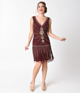Unique Vintage Deco Merlot Red & Gold Beaded Fringe Aelita Flapper Dress
