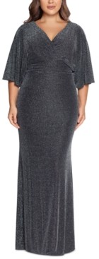 Betsy & Adam Plus Size Dolman-Sleeve Metallic Gown