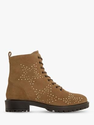 Dune Prentice Star Stud Embellished Nubuck Biker Boots, Taupe