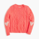 J.Crew Girls' heart cable sweater