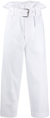 Plan C Cotton High-Waisted Cropped Trousers