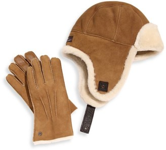 Two-Piece Shearling Sheepskin Hat and Smart Leather Gloves Set