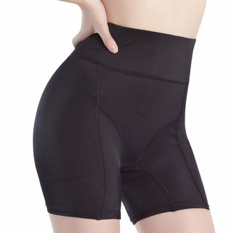 Generic Womens Panty Fake Ass Padded Underwear Butt Lifter Enhance High Waist Girdle Plus Size Seamless Shaping Safety Shorts Black