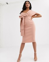 Asos Design DESIGN fallen shoulder midi pencil dress with tie detail in rose