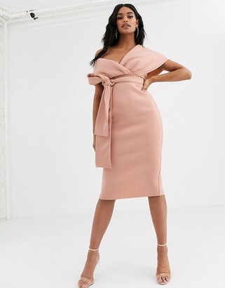 ASOS DESIGN fallen shoulder midi pencil dress with tie detail in rose