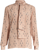 Valentino Triangle-print silk crepe de Chine blouse