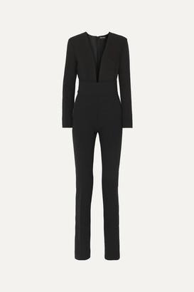Tom Ford Silk Satin-trimmed Wool-blend Jumpsuit - Black