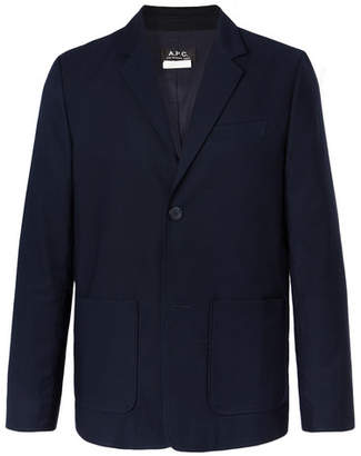 Navy Unstructured Cotton-Faille Blazer