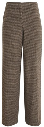 Theory Wool Flannel Houndstooth Wide Leg Pants