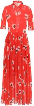 Ganni Tilden Floral-print Stretch-mesh Maxi Shirt Dress