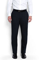 Classic Men's Tailored Fit Stretch Cotton Plaid Trousers-Light Gray Heather