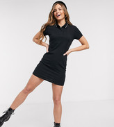 JDY polo mini dress in black