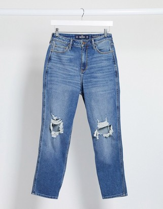 Hollister distressed mom jeans in midwash blue