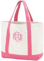 Princess Linens Hot Pink Monogram Beach Tote Bag