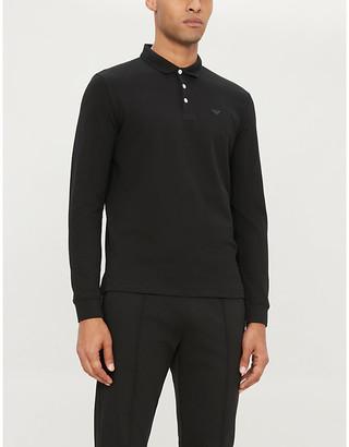 Emporio Armani Logo-embroidered long-sleeved cotton-pique polo shirt