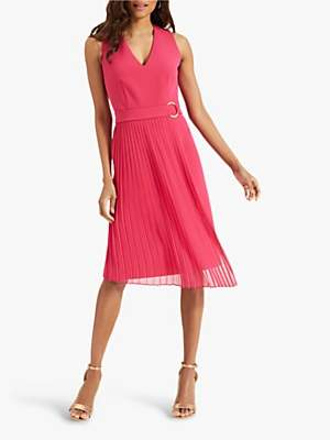 Phase Eight Maddie Pleated Dress, Hot Pink