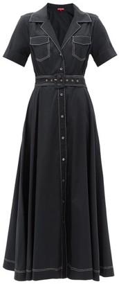 STAUD Millie Belted Cotton-blend Shirt Dress - Black