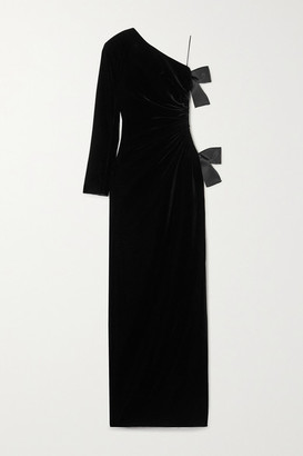 Saint Laurent One-sleeve Bow-embellished Cutout Velvet Gown - Black