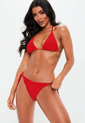 Missguided Red Crinkle Mix And Match Triangle Bikini Top