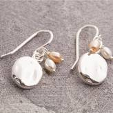 Otis Jaxon Silver Jewellery Silver And Pearl Organic Round Earrings