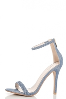 Quiz Blue Denim Braided Barely There Heels
