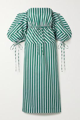 Rosie Assoulin Off-the-shoulder Striped Cotton-poplin Midi Dress - Green