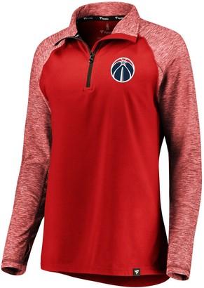 Möve Women's Fanatics Branded Red/Heathered Red Washington Wizards Made to Static Performance Raglan Sleeve Quarter-Zip Pullover Jacket