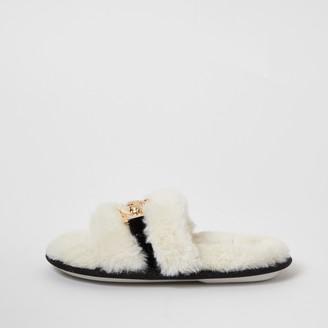 River Island Girls Cream faux fur brooch slider slippers