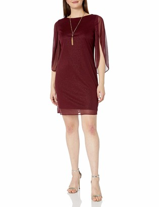 MSK Women's Sparkle Woven Shift Dress with 3/4 Sleeves and Removable Rhinestone Necklace