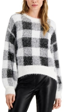 Hooked Up by IOT Juniors' Fuzzy Plaid Sweater
