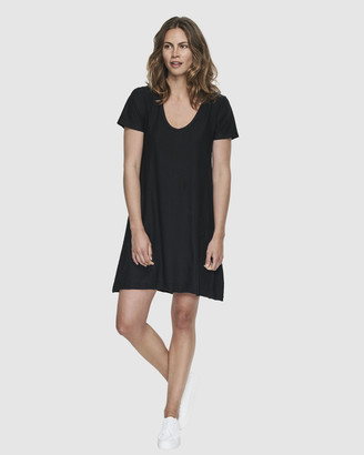 Cloth & Co. - Women's Black Mini Dresses - Organic Cotton Slub Scoop V Dress - Size One Size, XS at The Iconic