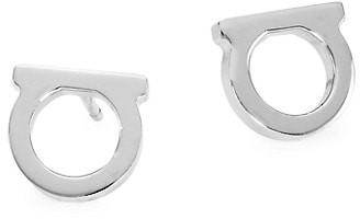"""Salvatore Ferragamo Silvertone Logo Stud Earrings/0.3"""""""