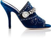 Miu Miu Women's Crystal- & Stud-Embellished Velvet Mules-BLUE