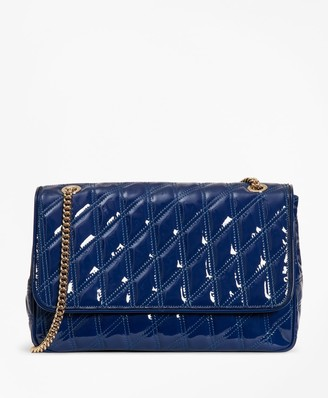 Brooks Brothers Quilted Patent Leather Convertible Cross-Body Bag